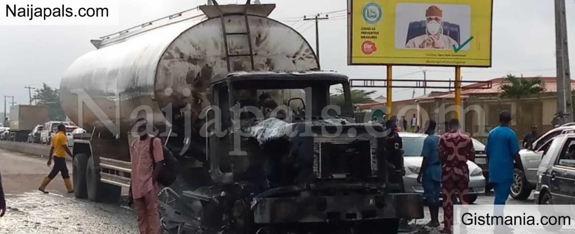 <img alt='.' class='lazyload' data-src='https://img.gistmania.com/emot/fire.gif' /> <b>Petrol Tanker Caught Fire In Front Of Ogun Governor's Office</b>