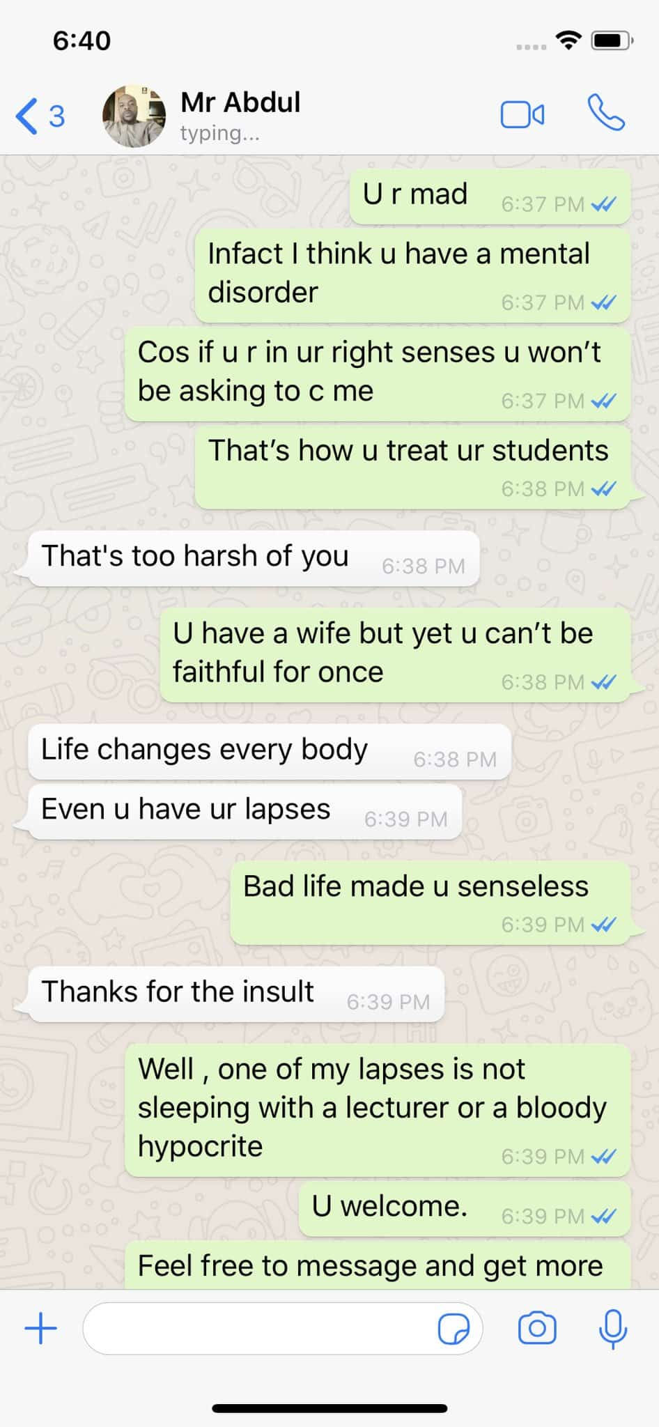 Lady Shares Conversation With Lecturer Who Failed Her After She Refused To Sleep With Him 3