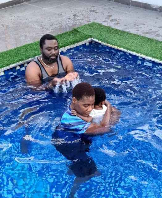 Mercy Johnson Takes Her Baby To The Pool For The First Time