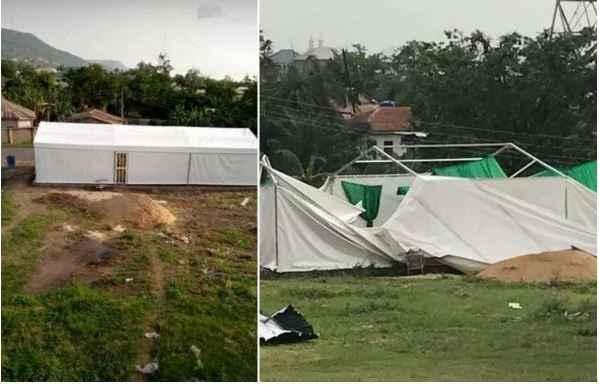 Kogi State Isolation Centre destroyed by rain