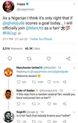 Manchester United Officially Welcomes DJ Cuppy As A Fan After She Left Arsenal 2