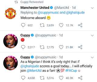 Manchester United Officially Welcomes DJ Cuppy As A Fan After She Left Arsenal 3