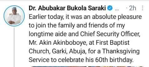 Photos: Bukola Saraki Goes To Church As He Celebrates 60th Birthday -  Gistmania