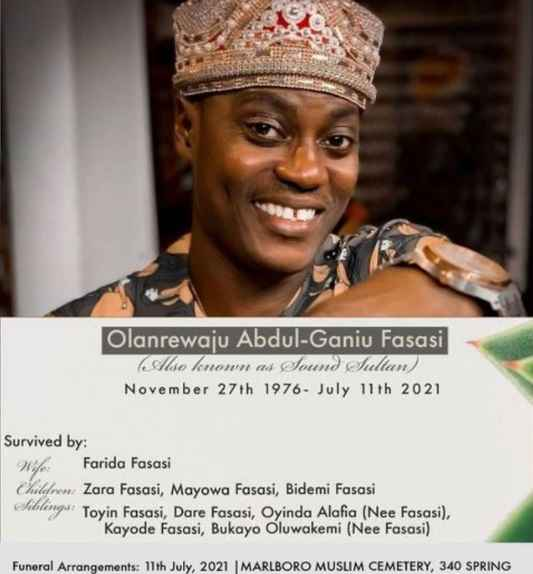 Family Of Late Singer, Sound Sultan Announces His Burial, Urge Fans To Join  Via Zoom Tonight - Gistmania