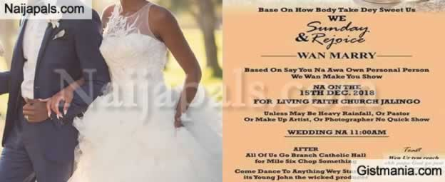 Hilarious Pidgin English Wedding Invitation Has Gone Viral Online Photos Gistmania