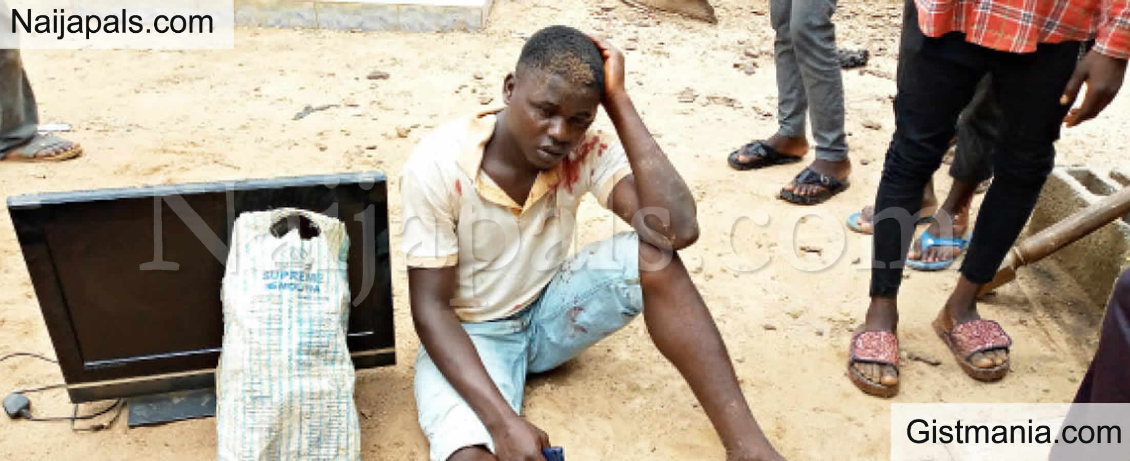 <img alt='.' class='lazyload' data-src='https://img.gistmania.com/emot/comment.gif' /> <b>23Yrs Old Man Ejiofor Almost Lynched After Allegedly Stealing Plasma TV In Abuja</b>