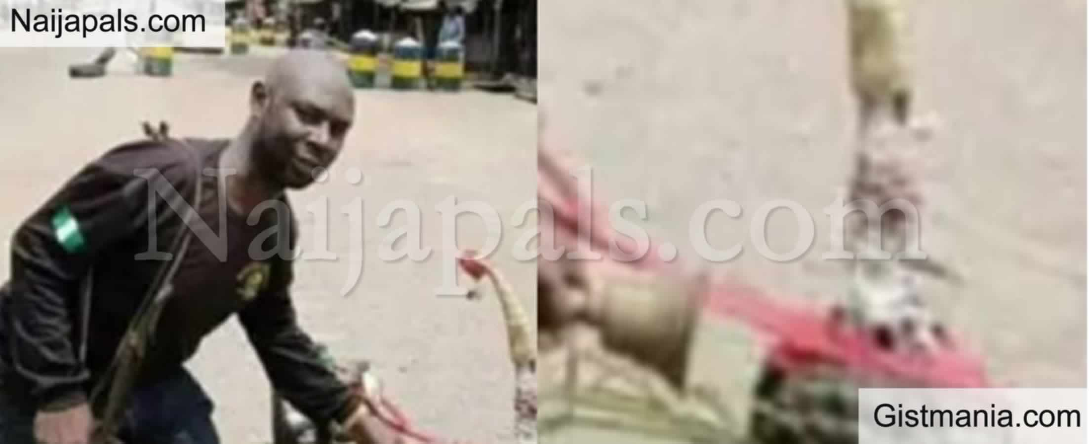 <img alt='.' class='lazyload' data-src='https://img.gistmania.com/emot/shocked.gif' /> <b>Fetish Items Found In Front Of Police Station For Alleged Protection Of Police Against Attack In Abia</b>