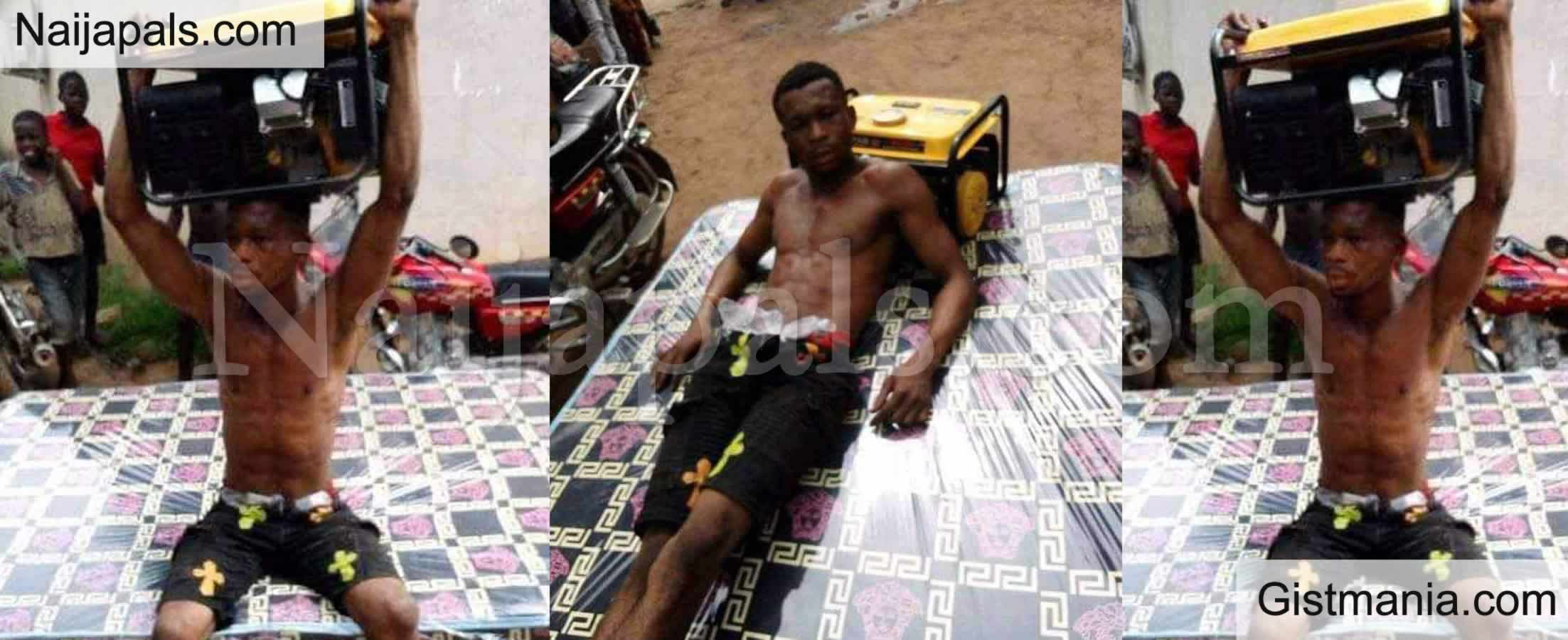 <img alt='.' class='lazyload' data-src='https://img.gistmania.com/emot/news.gif' /> PHOTOS: <b>Young Man Paraded With Generator And Mattress He Stole in Delta State</b>