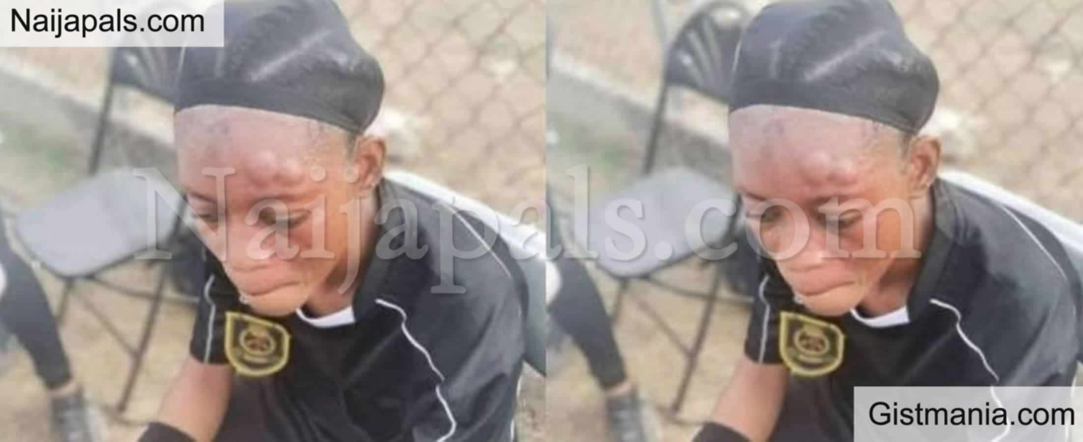 <img alt='.' class='lazyload' data-src='https://img.gistmania.com/emot/shocked.gif' /> <b>Shocking Photo Of Female Referee Mercilessly Beaten Up By A Female Footballer</b>