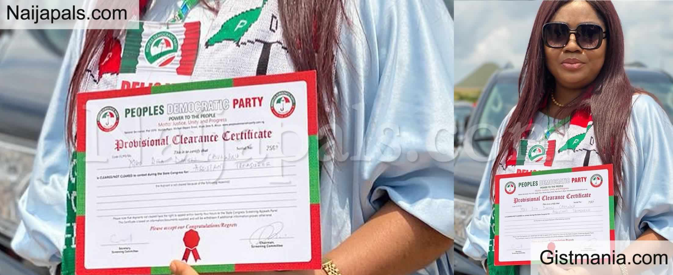 <img alt='.' class='lazyload' data-src='https://img.gistmania.com/emot/photo.png' /> Regina Daniels' Mum, <b>Rita Daniels Flaunts Certificate Of Her New Appointment With PDP in Delta</b>