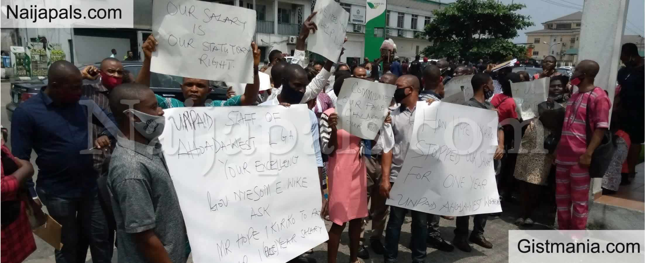 <img alt='.' class='lazyload' data-src='https://img.gistmania.com/emot/news.gif' /> <b>Cross Rivers Workers Protest Over Covid19 Relief Non-payment Of 3 Month's Salary Arrears</b>
