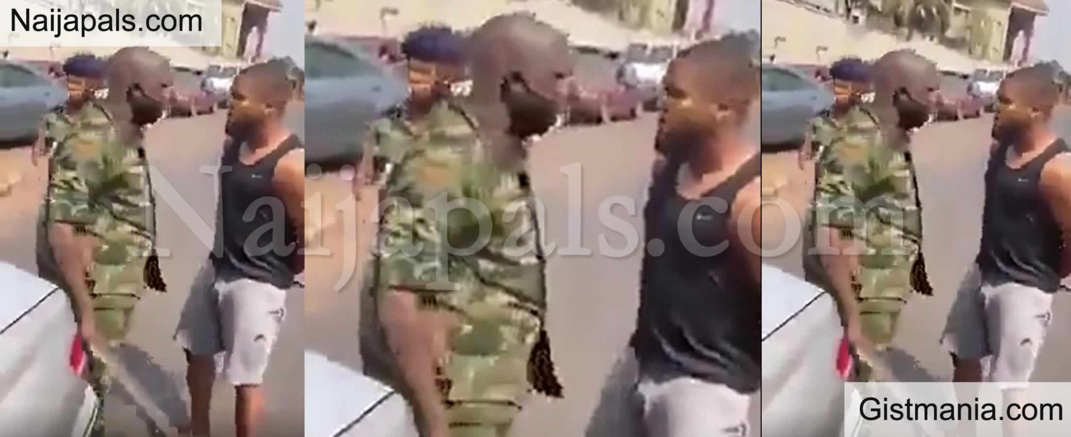 <img alt='.' class='lazyload' data-src='https://img.gistmania.com/emot/video.gif' /> Video: <b>Nigerian Soldier Slaps Footballer After He Was Questioned For Taking Wrong Path Of Road</b>