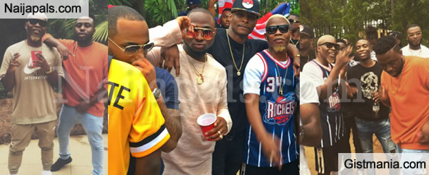 Davido, Olamide And Samklef Pictured On Set Of Wale's Video