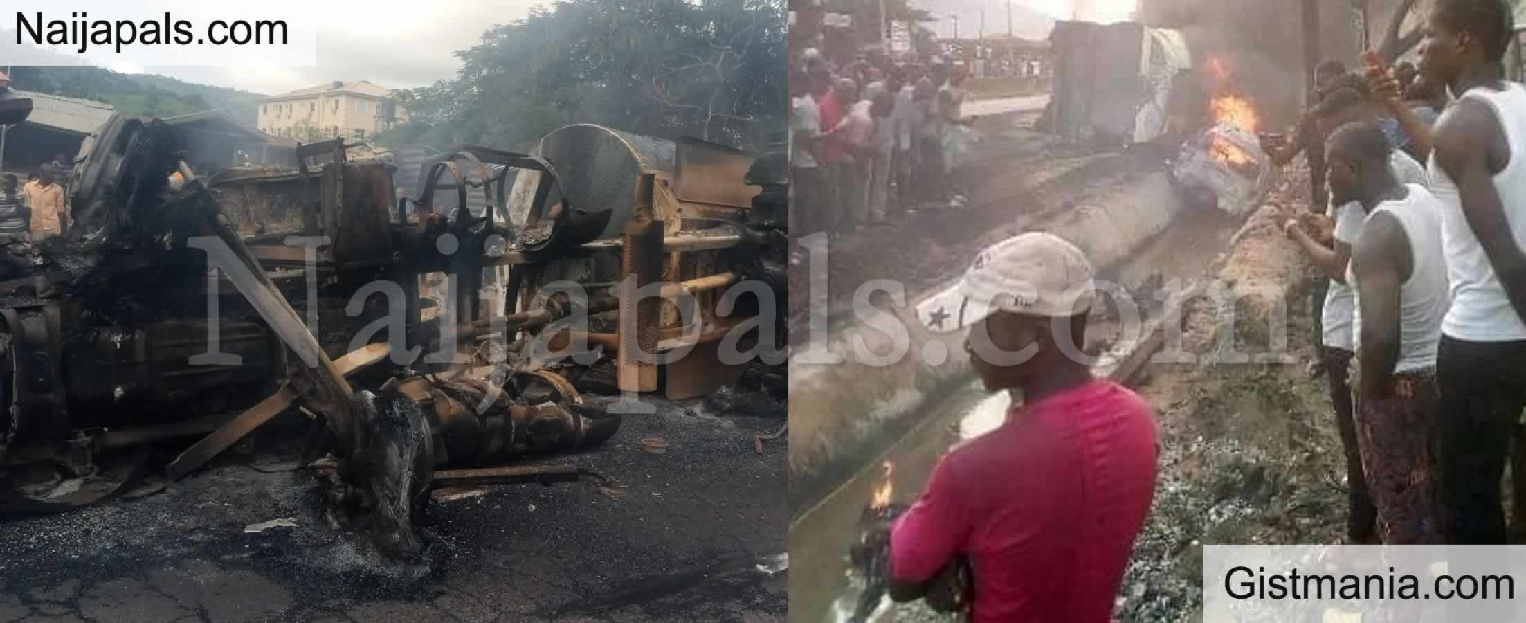 <img alt='.' class='lazyload' data-src='https://img.gistmania.com/emot/cry.gif' /> PHOTOS: <b>Over 10 Vehicles Burnt, 30 People Killed As Tanker Crushes Keke Napep in Kogi</b>