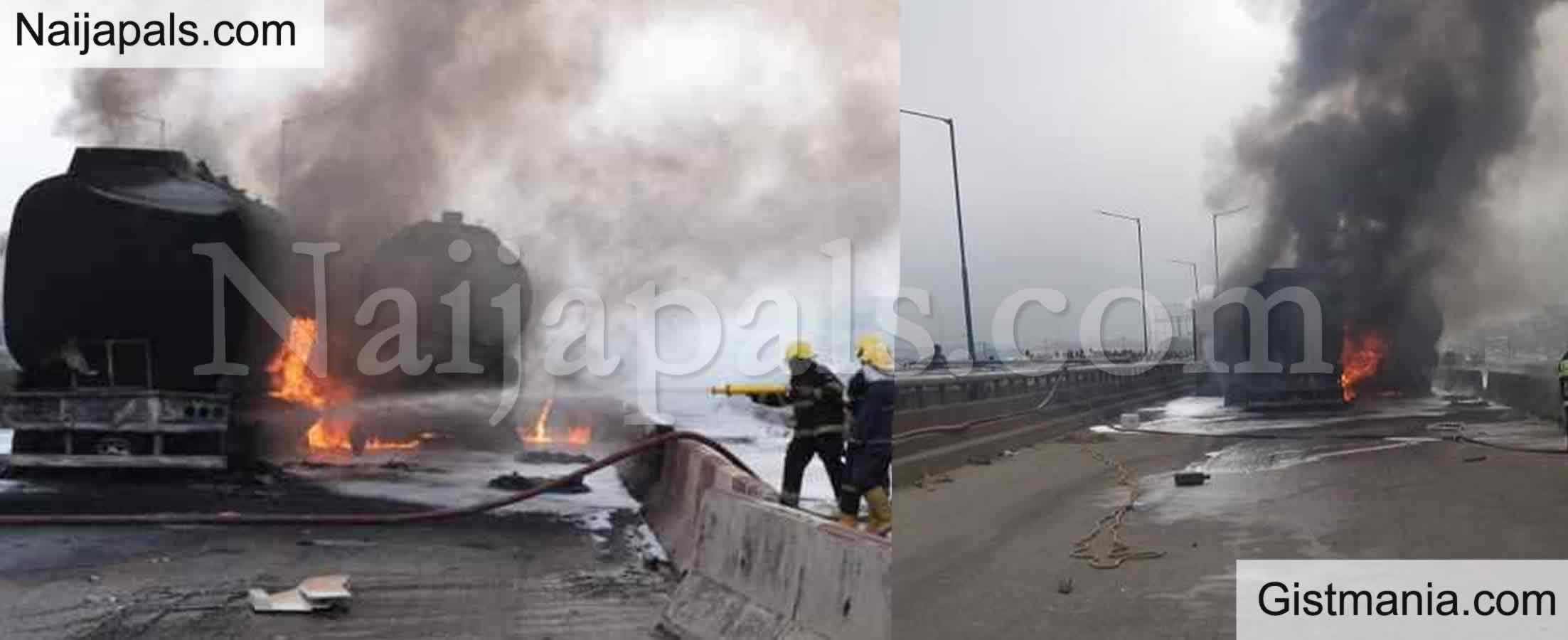 <img alt='.' class='lazyload' data-src='https://img.gistmania.com/emot/news.gif' /> <b>Petrol Tanker Lose Control & Explodes In Lagos</b>