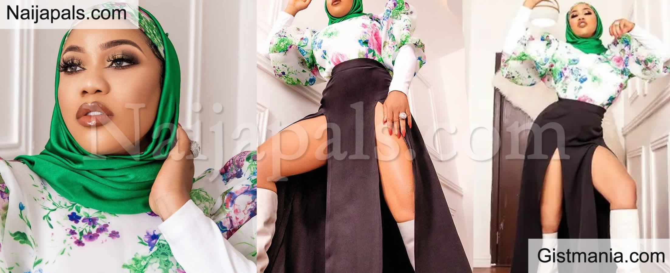 <img alt='.' class='lazyload' data-src='https://img.gistmania.com/emot/comment.gif' /> After The Controversial Nun Outfit, <b>Toyin Lawani Recreates Same Saucy Fashion in Hijab</b> (Photos)