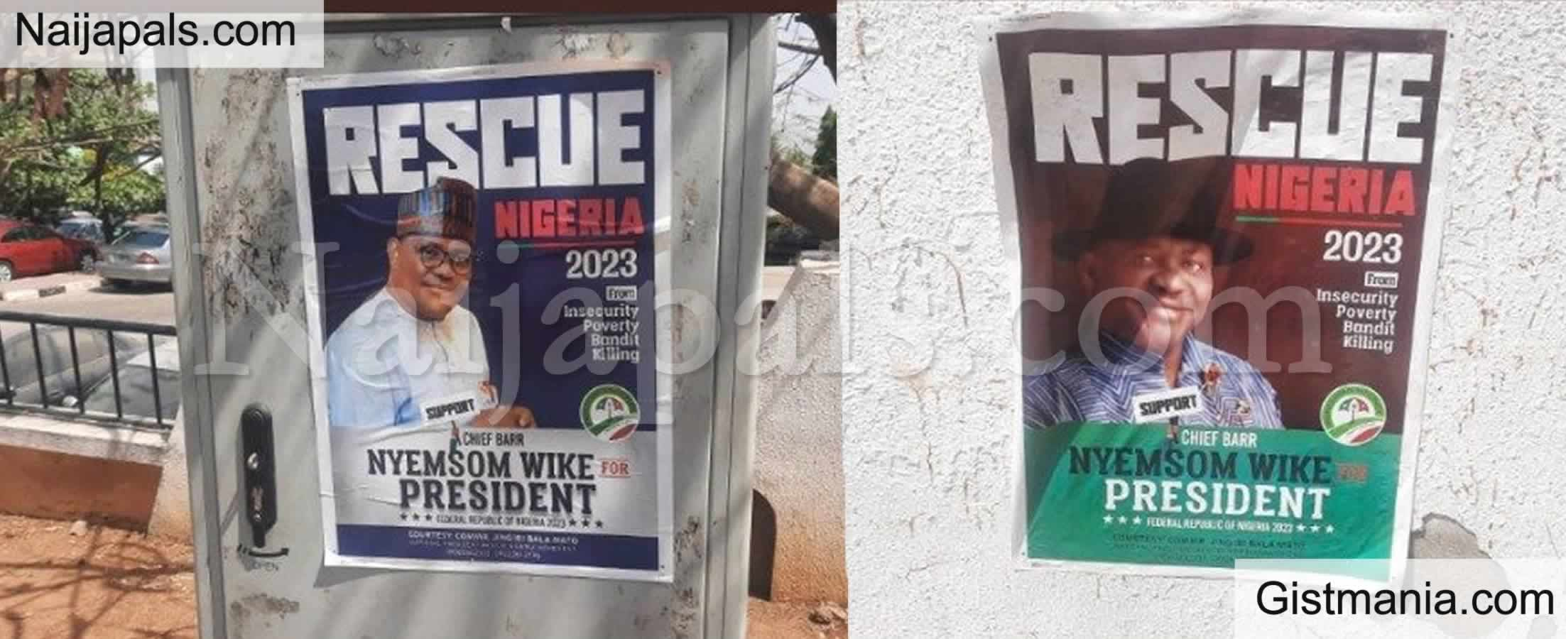 <img alt='.' class='lazyload' data-src='https://img.gistmania.com/emot/comment.gif' /> RESCUE NIGERIA 2023! <b>Governor Wike's Presidential Campaign Posters Flood The Streets</b> (Photos)
