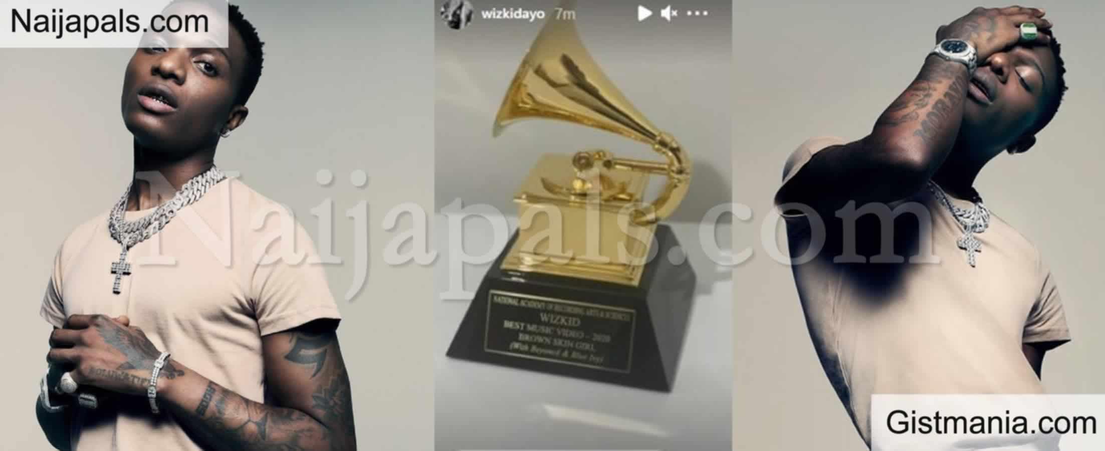 <img alt='.' class='lazyload' data-src='https://img.gistmania.com/emot/thumbs_up.gif' /> Singer, <b>Wizkid Finally Receives His Grammy Award Plaque </b>(Photo)