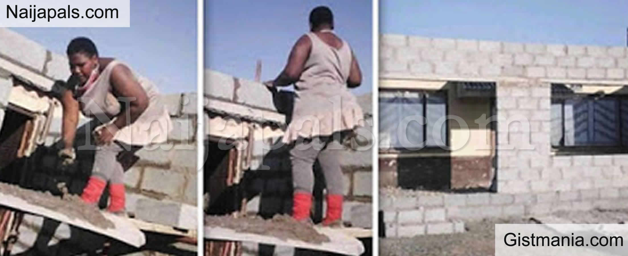 <img alt='.' class='lazyload' data-src='https://img.gistmania.com/emot/thumbs_up.gif' /><b> South African Woman Becomes Internet Sensation After She single-handedly Build Her House</b>