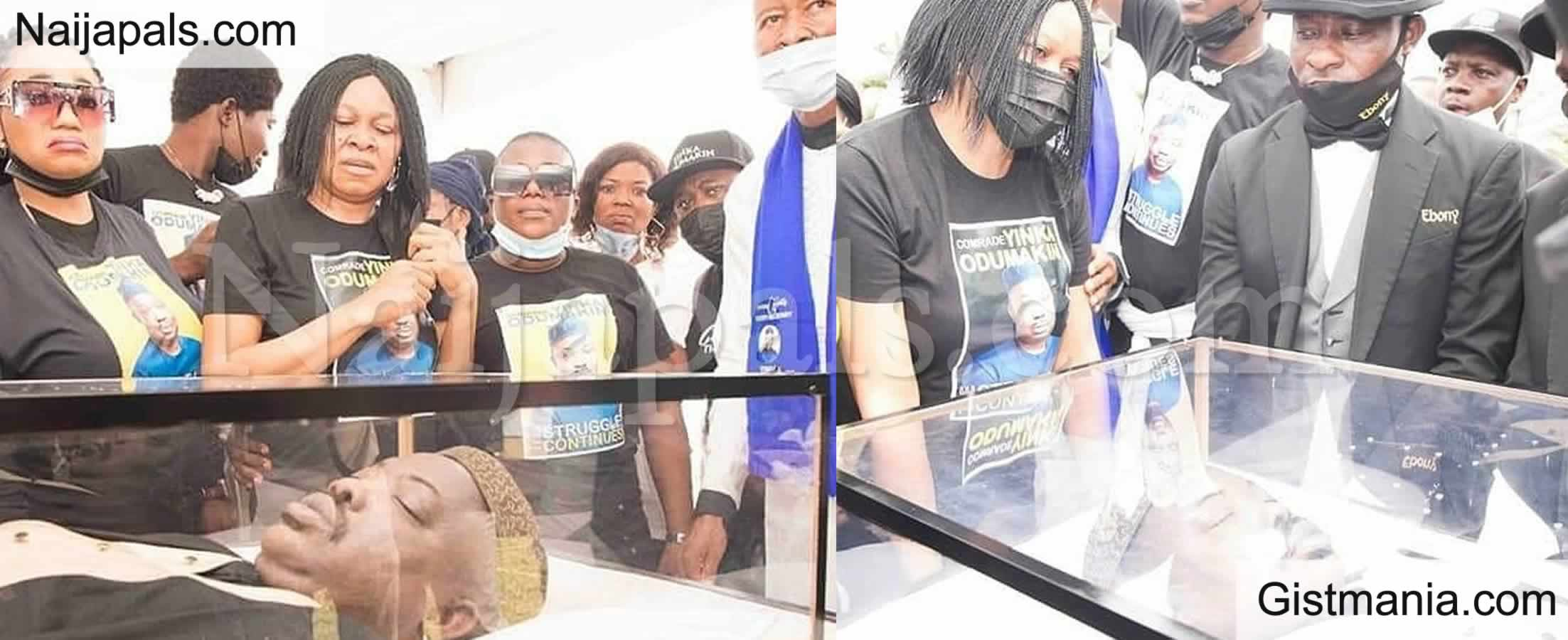 <img alt='.' class='lazyload' data-src='https://img.gistmania.com/emot/comment.gif' /> <b>First Photos Of Yinka Odumakin's Lie-In-State Ceremony In Ikeja</b>
